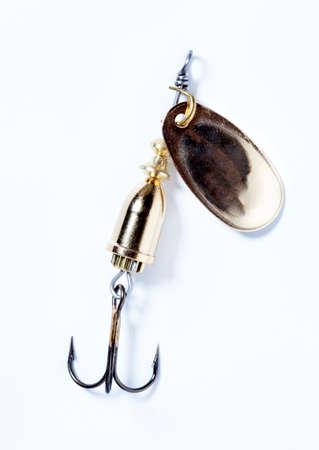 fishing hook with bait on white background photo