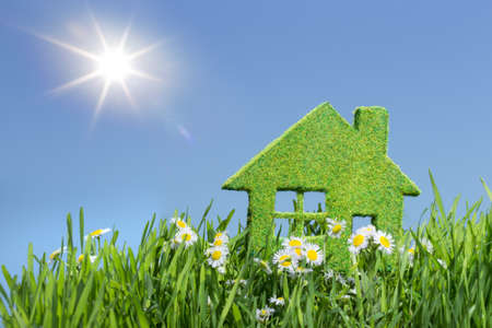 house from grass on blue sky Foto de archivo