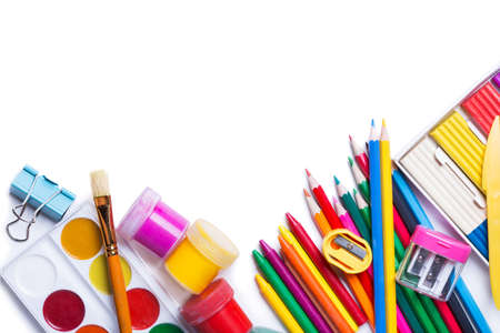 craft material: Materials for childrens creativity white background