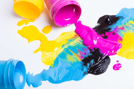 printing inks: Jars with a paint on a white background Stock Photo