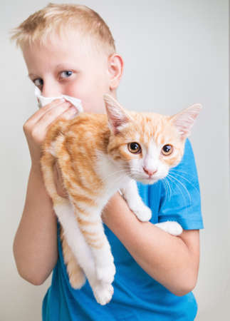 A boy with a red cat, allergy Banque d'images