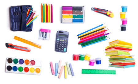 stationery for school and office on white background  photo