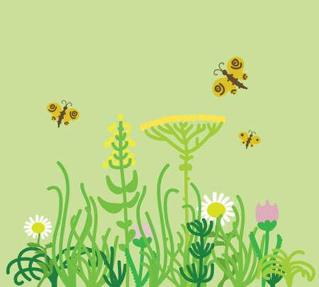 grass field: grass field with flowers, illustration
