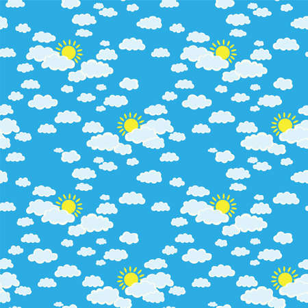sun illustration: Sky with clouds and the sun, illustration