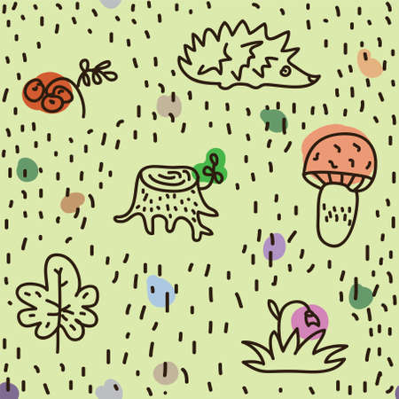 seamless texture with plants from the forest, illustration Vector