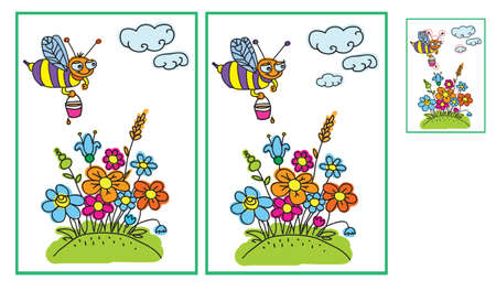 spots: Bee and flowers in the meadow. Find ten differences Illustration