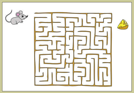 Find your way to the cheese to the mouse, maze game 版權商用圖片 - 33990165
