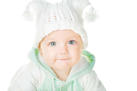 six months: cheerful baby six months old, white background Stock Photo