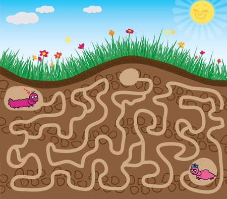maze: maze game find the road worm