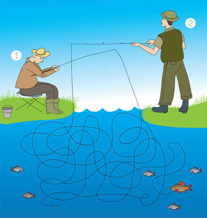 game fish: maze game: Which of the fishermen caught fish? Illustration