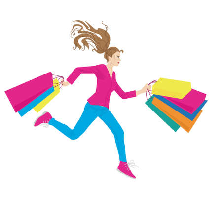 young woman running: young woman running with shopping bags in hands