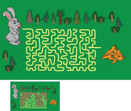 the maze: laberinto juego: encontrar una manera de ayudar a la liebre a la zanahoria