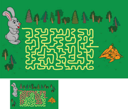 maze: maze game: find a way to help the hare to the carrot Illustration