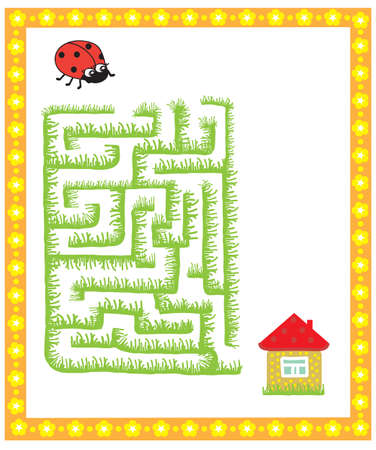 childrens maze game, find the way to the house ladybug