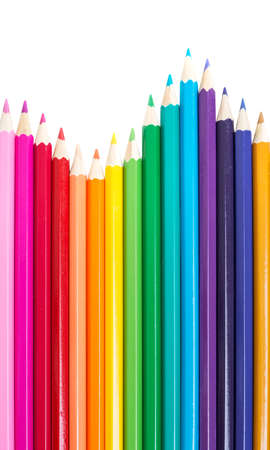 colored background: set of colored pencils on a white background