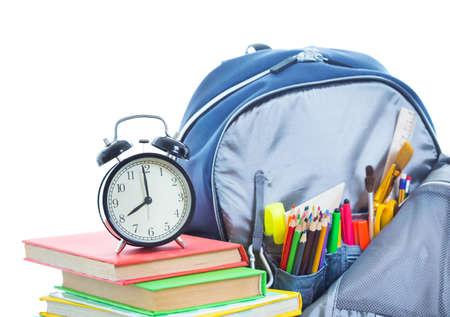 fournitures scolaires: Cartable avec des choses pour l'�cole Banque d'images