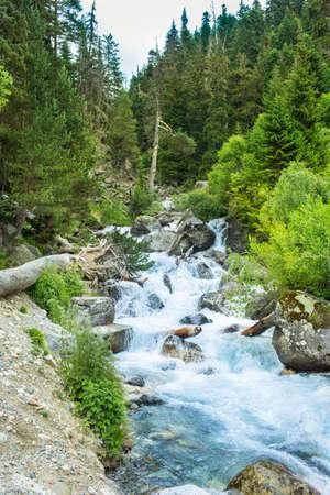 dombai: The mountain river. Village Dombay, Karachay Cherkessia Republic, Russia Stock Photo
