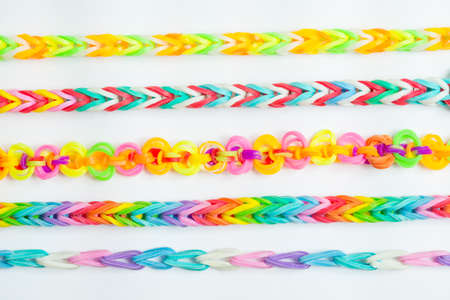 rubber bands: Rainbow loom- Colored rubber bands for weaving accessories Stock Photo