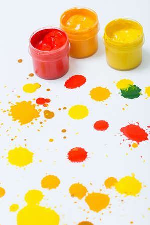 gouache: gouache in jars and drops of paint