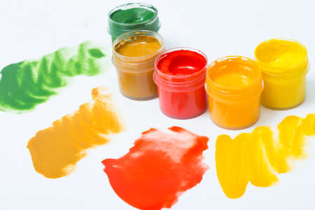 gouache: gouache in jars of paint and stains Stock Photo