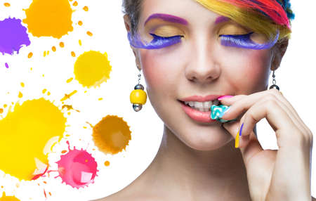 colorful beads: Beautiful woman with bright makeup