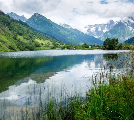 dombai: lake near the mountains Dombai, North Caucasus. Russia