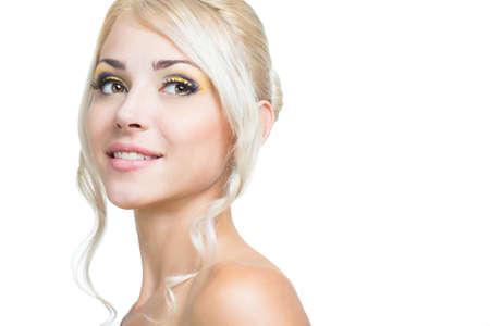 nude young: Красивая девушка лицо на белом фоне Фото со стока