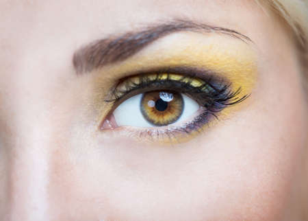 natural make up: Eyed girl with bright makeup