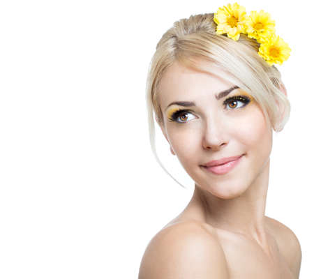 nude blond girl: Beautiful girl face on white background