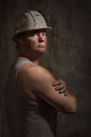 the miner: A man in a helmet miner