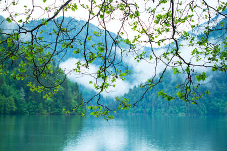 abkhazia: View of Lake Riza. Abkhazia.