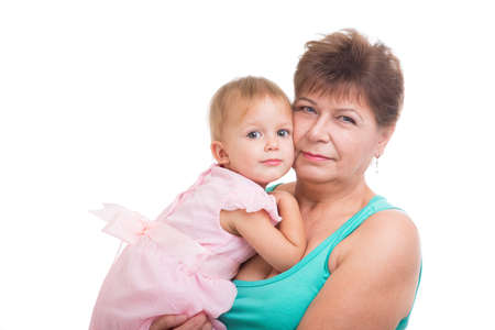 the grand daughter: Grandmother and granddaughter on a white background