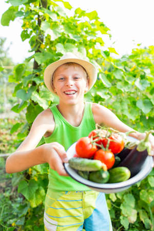 childhood obesity: A boy with a bowl of vegetables in the garden