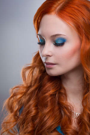 guadaña: beautiful young woman with red hair beautiful,  red-haired girl with curls