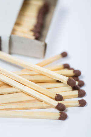 box of matches on a white background Stock Photo
