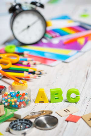 Items for childrens creativity, School supplies on the table