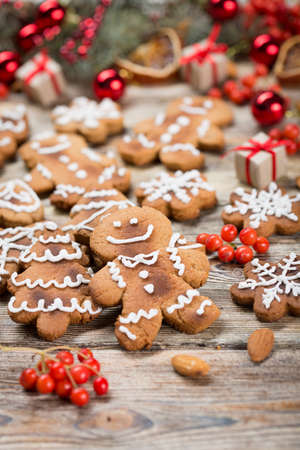 christmas gift: Christmas background on wooden boards Stock Photo