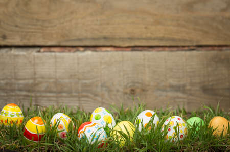 Easter background on the grass Stockfoto
