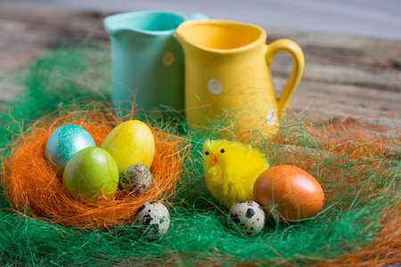 Easter eggs on wooden, Painted Easter eggs on old boards , Easter background