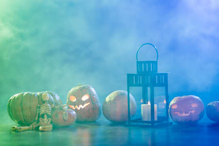 Background with pumpkins for Halloween Stock Photo
