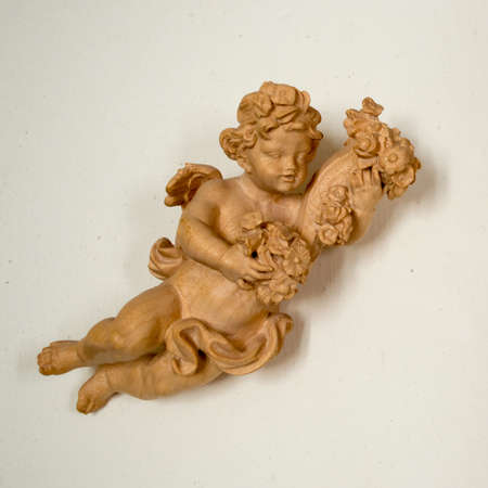 angelical: Beautiful Wooden Antique Angel on White Background