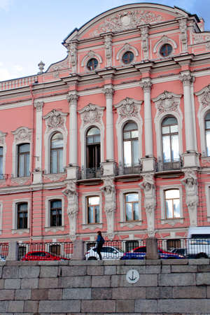 Saint Petersburg, RUSSIA - September 11, 2018: View rom the Neva river of Beloselsky-Belozersky Palace in the style of Russian neo-Baroque. Figures of Atlantes on the facade of the building. Sajtókép