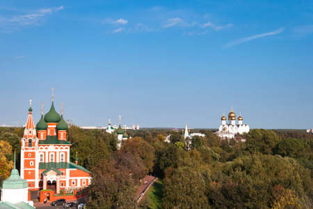 Spaso-Preobrazhensky or Transfiguration Monastery in Yaroslavl, the Golden Ring of Russia abstract decorative architectural details of belfry