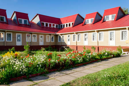 Attractions of Kiy island on the White Sea of Russia, Arkhangelsk region, Onega district, sea resort Kiy. Summer view.