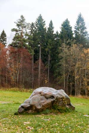 Womans stone near Manor Shakhmatovo state memorial museum of Russian poet Alexander Blok