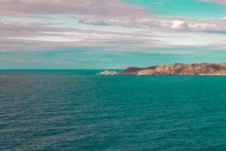 Beautiful summer day landscape abandoned artnature coastal defense North Teriberka, Barents sea view