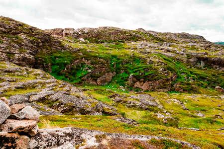 Beautiful summer day landscape mountains Barents sea Teriberka view. North sea concept Stockfoto