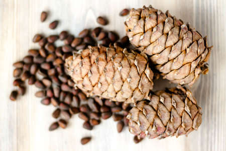 Pine cones and nuts on natural light whitewashed wooden background. The concept of healthy eating organic food, vegetarian. Top view. Selective soft focus. Shallow depth of field. Text copy space. 写真素材