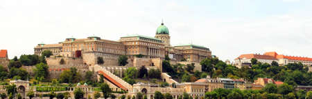Budapest, Hungary sights Buda castle Royal Palace and city banner beautiful panoramic view of Buda from pest. Side natural backgound view.