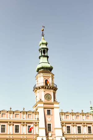 ZAMOSC, POLAND - JULY 28, 2019: Beautiful ancient Town Hall at Market Square of historical city center of Zamosc UNESCO World Heritage List site.